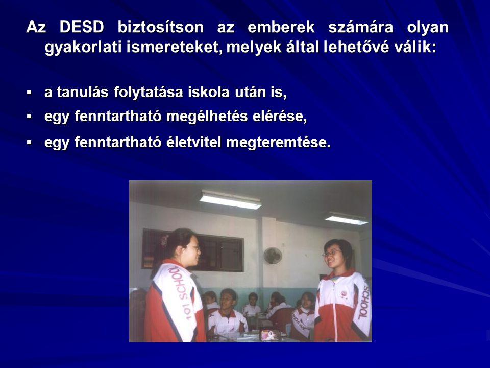 Az DESD biztosítson az emberek számára olyan gyakorlati ismereteket, melyek által lehetővé válik:  a tanulás folytatása iskola után is,  egy fenntar
