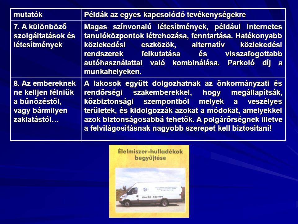 mutatók Példák az egyes kapcsolódó tevékenységekre 7. A különböző szolgáltatások és létesítmények Magas színvonalú létesítmények, például Internetes t