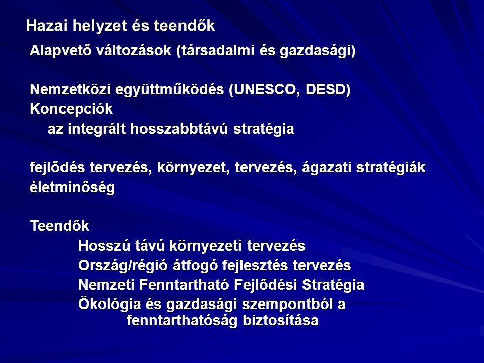 Hazai helyzet és teendők Alapvető változások (társadalmi és gazdasági) Nemzetközi együttműködés (UNESCO, DESD) Koncepciók az integrált hosszabbtávú st