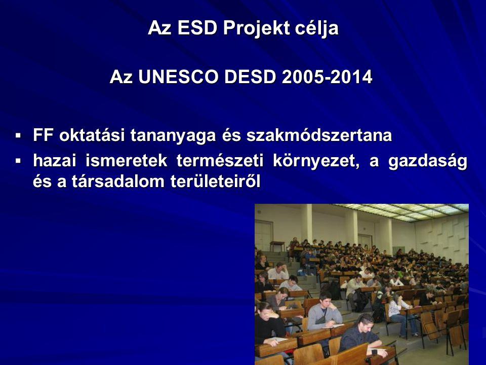 Az ESD Projekt célja Az UNESCO DESD 2005-2014  FF oktatási tananyaga és szakmódszertana  hazai ismeretek természeti környezet, a gazdaság és a társa