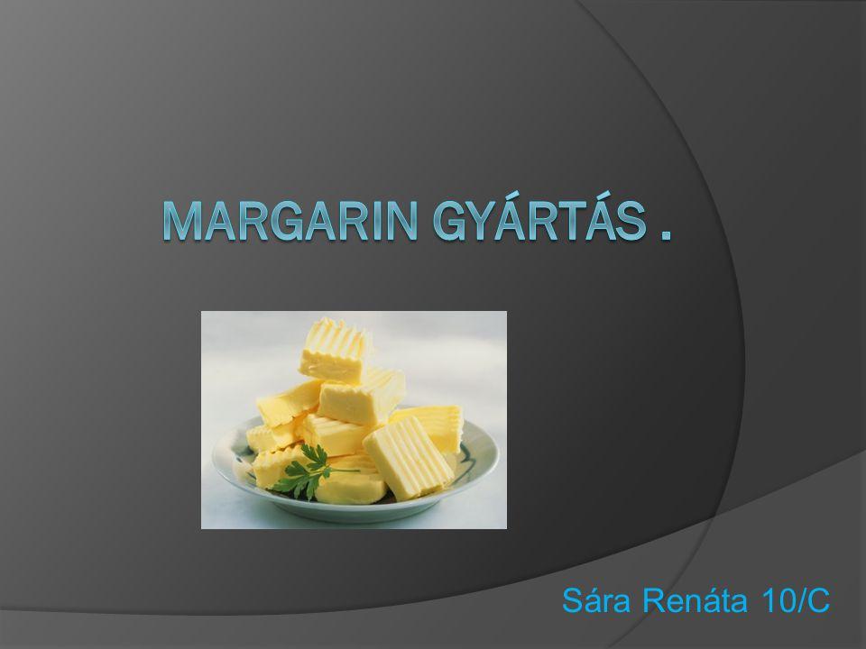 A margarin szerkezetét tekintve zsírok és olajok, valamint ivóvíz stabil keveréke, emulziója.