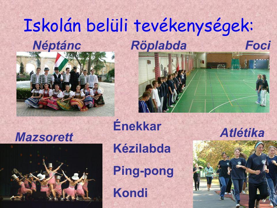 Iskolán belüli tevékenységek: Néptánc Mazsorett FociRöplabda Atlétika Énekkar Kézilabda Ping-pong Kondi