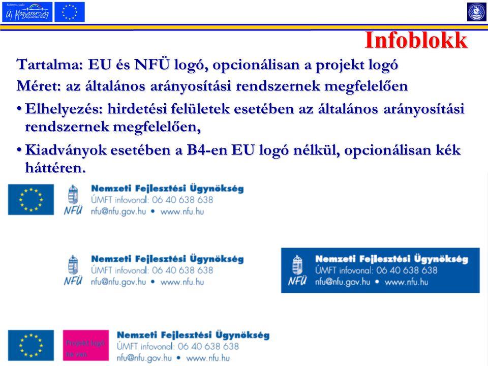 19 2014.07.17. Tartalma: EU és NFÜ logó, opcionálisan a projekt logó Méret: az általános arányosítási rendszernek megfelelően Elhelyezés: hirdetési fe