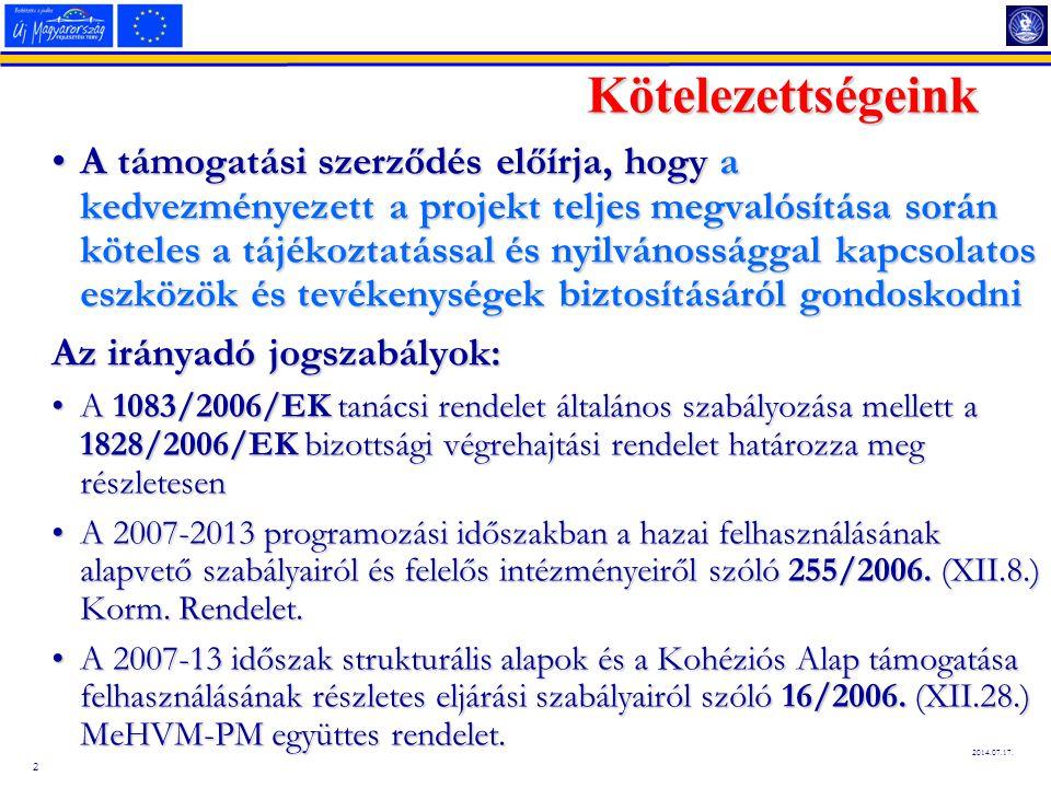 2 2014.07.17. Kötelezettségeink A támogatási szerződés előírja, hogy a kedvezményezett a projekt teljes megvalósítása során köteles a tájékoztatással