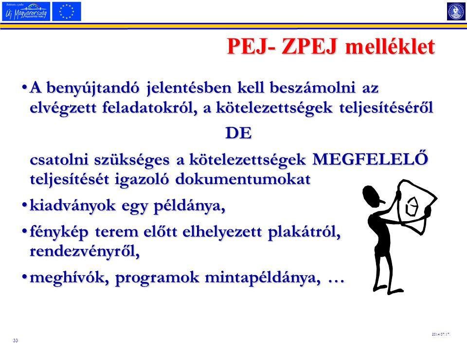 33 2014.07.17. PEJ- ZPEJ melléklet A benyújtandó jelentésben kell beszámolni az elvégzett feladatokról, a kötelezettségek teljesítésérőlA benyújtandó