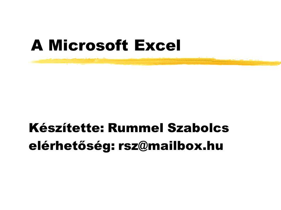 A Microsoft Excel Készítette: Rummel Szabolcs elérhetőség: rsz@mailbox.hu