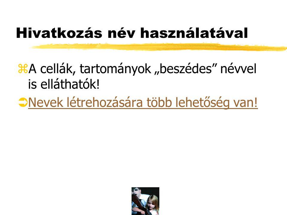 Egyszerű névképzés zCella vagy tartomány kijelölése. zBeszúrás/Név/Létreho zás