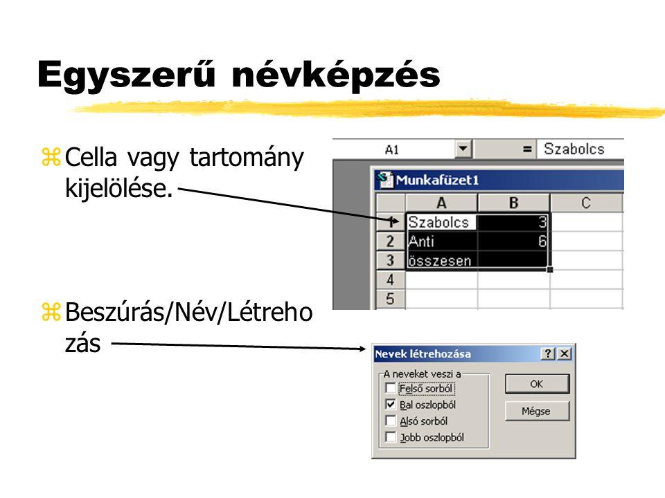 Eszköztárban z Cella kijelölése. z Név mezőbe kattintás után, a név megadása.