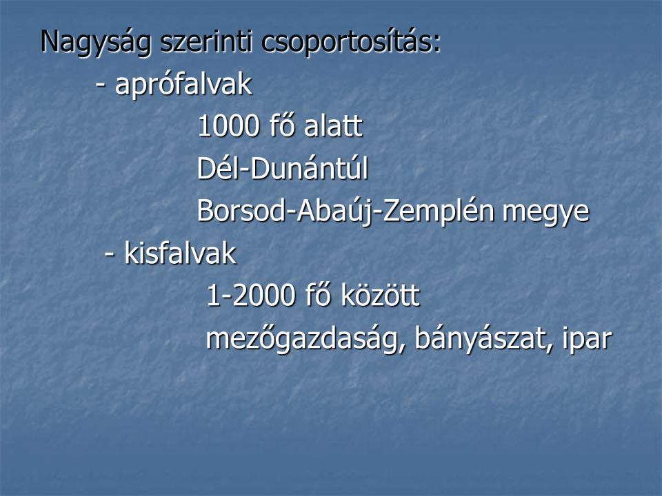 Nagyság szerinti csoportosítás: - aprófalvak - aprófalvak 1000 fő alatt 1000 fő alatt Dél-Dunántúl Dél-Dunántúl Borsod-Abaúj-Zemplén megye Borsod-Abaú