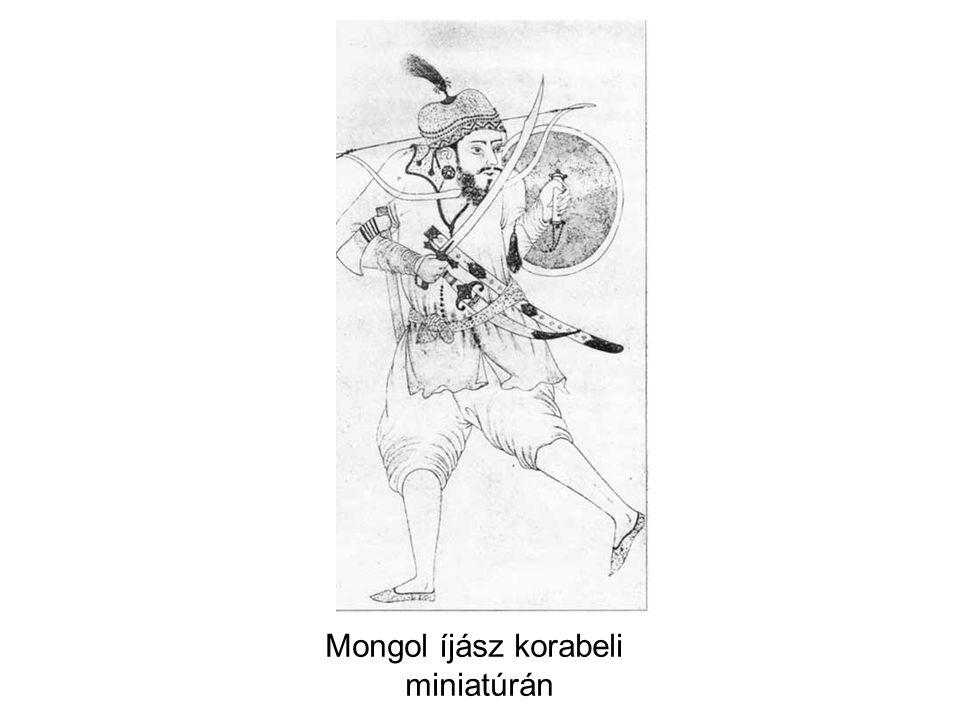 Mongol íjász korabeli miniatúrán