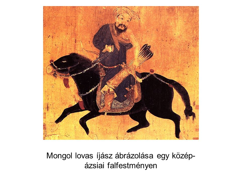 Mongol lovas íjász ábrázolása egy közép- ázsiai falfestményen