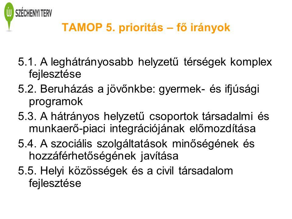 TAMOP 5. prioritás – fő irányok 5.1. A leghátrányosabb helyzetű térségek komplex fejlesztése 5.2. Beruházás a jövőnkbe: gyermek- és ifjúsági programok