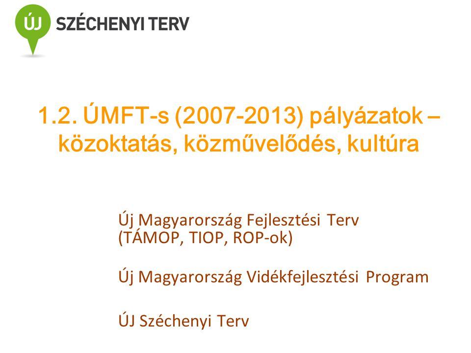 Új Magyarország Fejlesztési Terv (TÁMOP, TIOP, ROP-ok) Új Magyarország Vidékfejlesztési Program ÚJ Széchenyi Terv 1.2. ÚMFT-s (2007-2013) pályázatok –