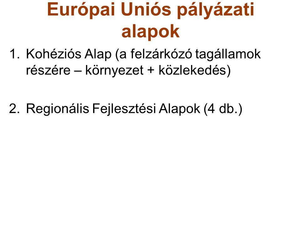 Európai Uniós pályázati alapok 1.Kohéziós Alap (a felzárkózó tagállamok részére – környezet + közlekedés) 2.Regionális Fejlesztési Alapok (4 db.)