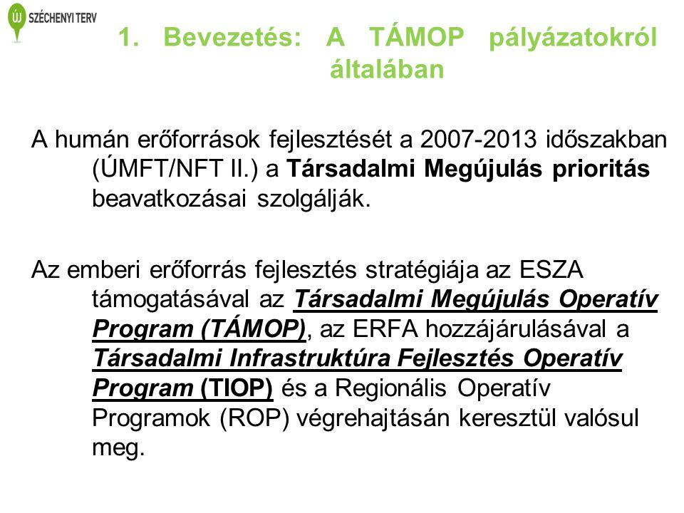 1. Bevezetés: A TÁMOP pályázatokról általában A humán erőforrások fejlesztését a 2007-2013 időszakban (ÚMFT/NFT II.) a Társadalmi Megújulás prioritás