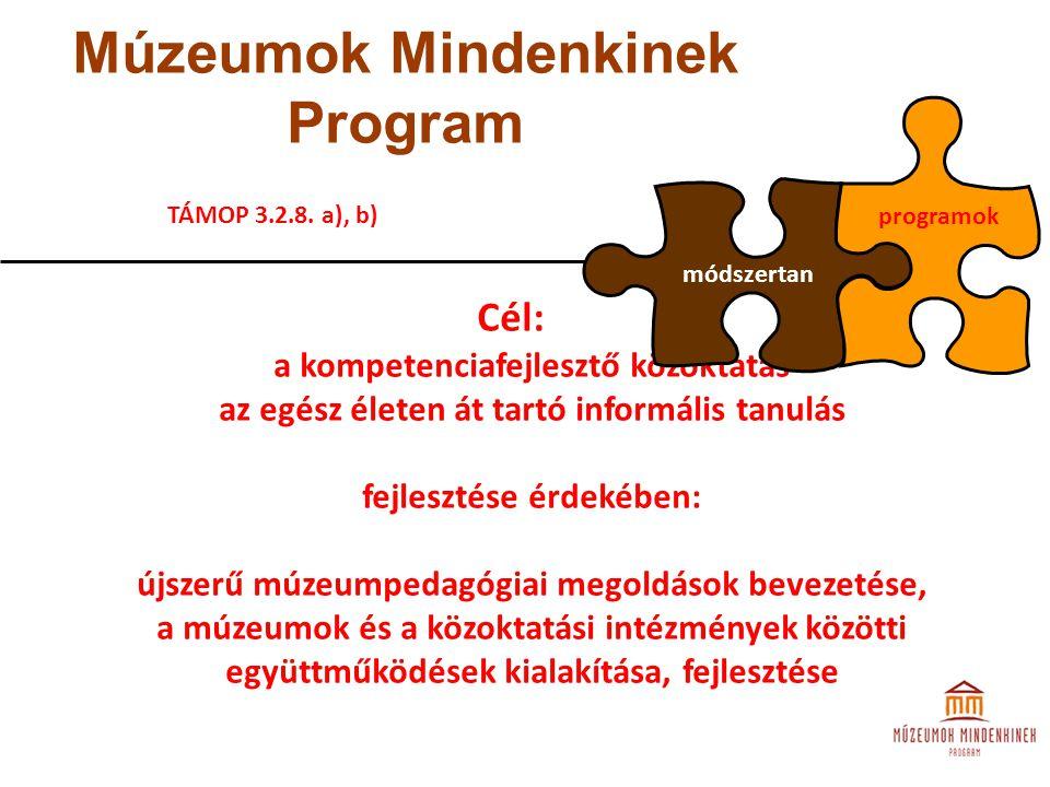 Múzeumok Mindenkinek Program Cél: a kompetenciafejlesztő közoktatás az egész életen át tartó informális tanulás fejlesztése érdekében: újszerű múzeump