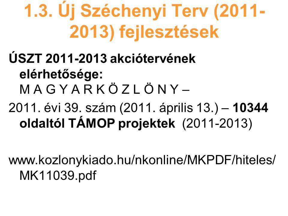 1.3. Új Széchenyi Terv (2011- 2013) fejlesztések ÚSZT 2011-2013 akciótervének elérhetősége: M A G Y A R K Ö Z L Ö N Y – 2011. évi 39. szám (2011. ápri