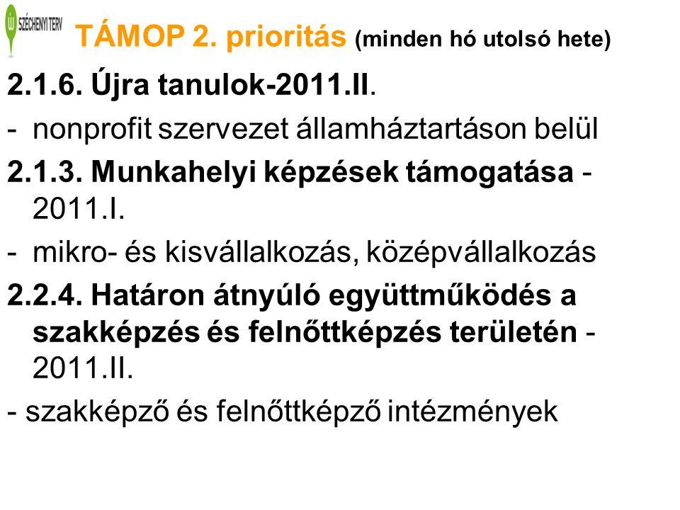 TÁMOP 2. prioritás (minden hó utolsó hete) 2.1.6. Újra tanulok-2011.II. -nonprofit szervezet államháztartáson belül 2.1.3. Munkahelyi képzések támogat