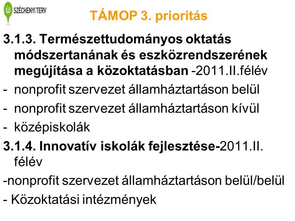 TÁMOP 3. prioritás 3.1.3. Természettudományos oktatás módszertanának és eszközrendszerének megújítása a közoktatásban -2011.II.félév -nonprofit szerve