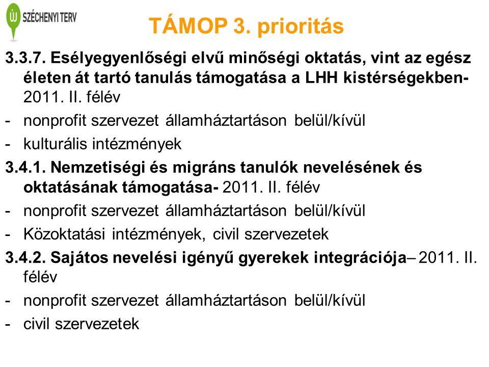 TÁMOP 3. prioritás 3.3.7. Esélyegyenlőségi elvű minőségi oktatás, vint az egész életen át tartó tanulás támogatása a LHH kistérségekben- 2011. II. fél