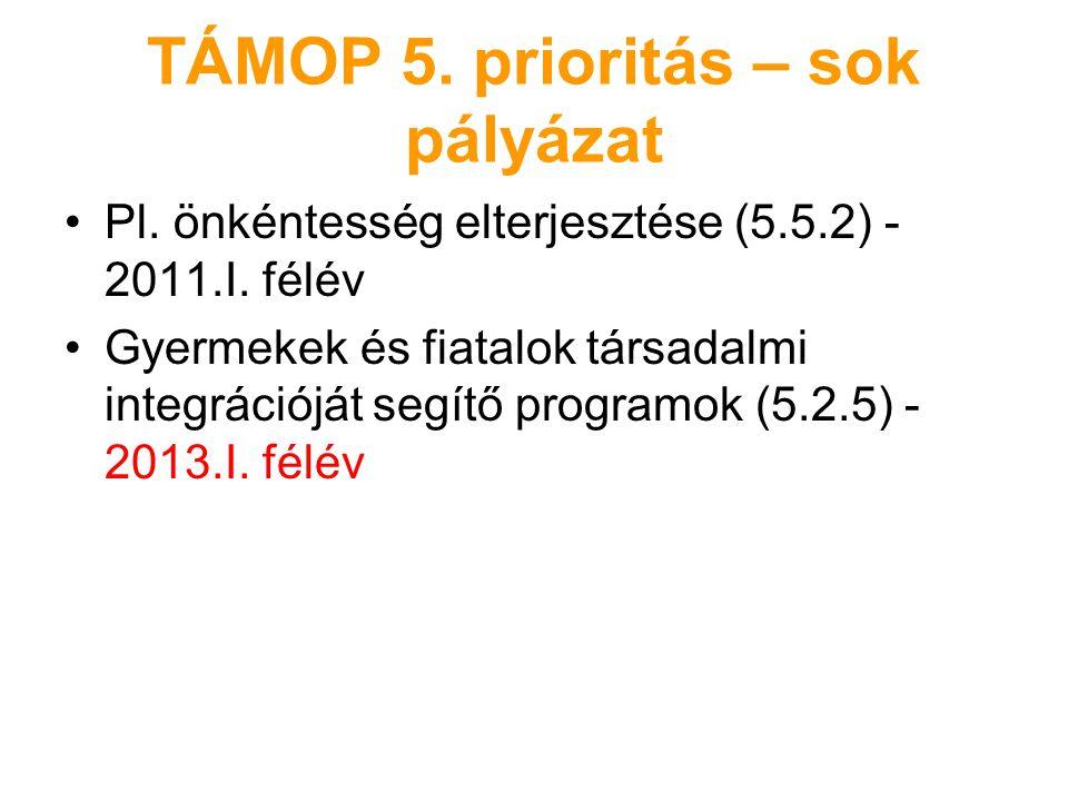 TÁMOP 5. prioritás – sok pályázat Pl. önkéntesség elterjesztése (5.5.2) - 2011.I. félév Gyermekek és fiatalok társadalmi integrációját segítő programo