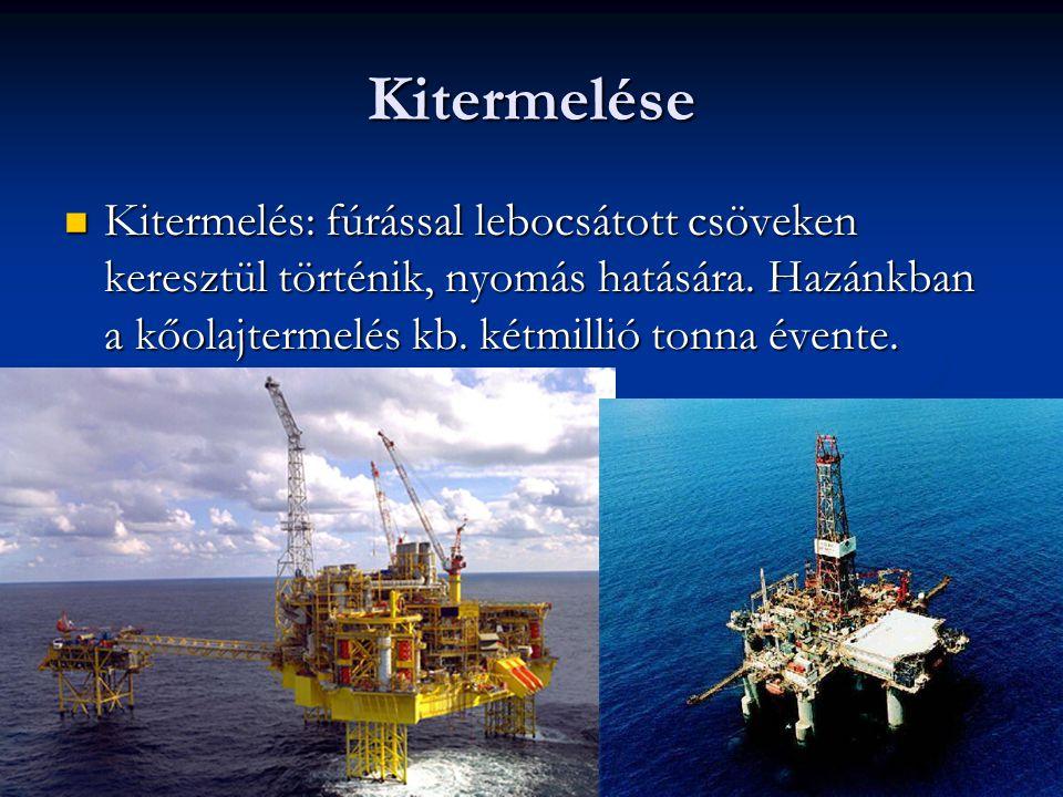 Kitermelése Kitermelés: fúrással lebocsátott csöveken keresztül történik, nyomás hatására. Hazánkban a kőolajtermelés kb. kétmillió tonna évente. Kite