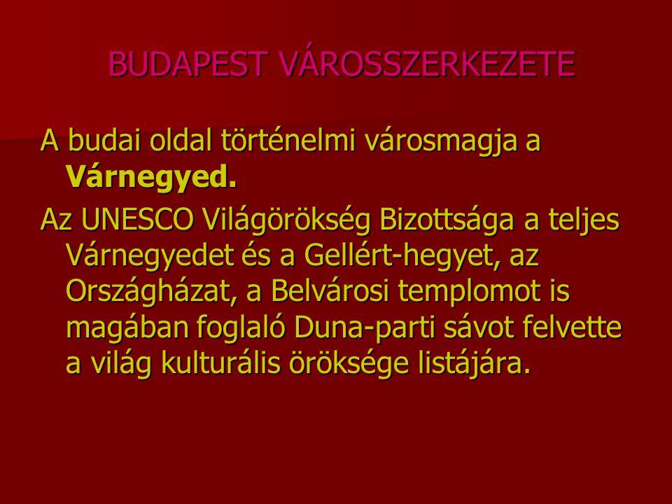 BUDAPEST VÁROSSZERKEZETE BUDAPEST VÁROSSZERKEZETE A budai oldal történelmi városmagja a Várnegyed. Az UNESCO Világörökség Bizottsága a teljes Várnegye