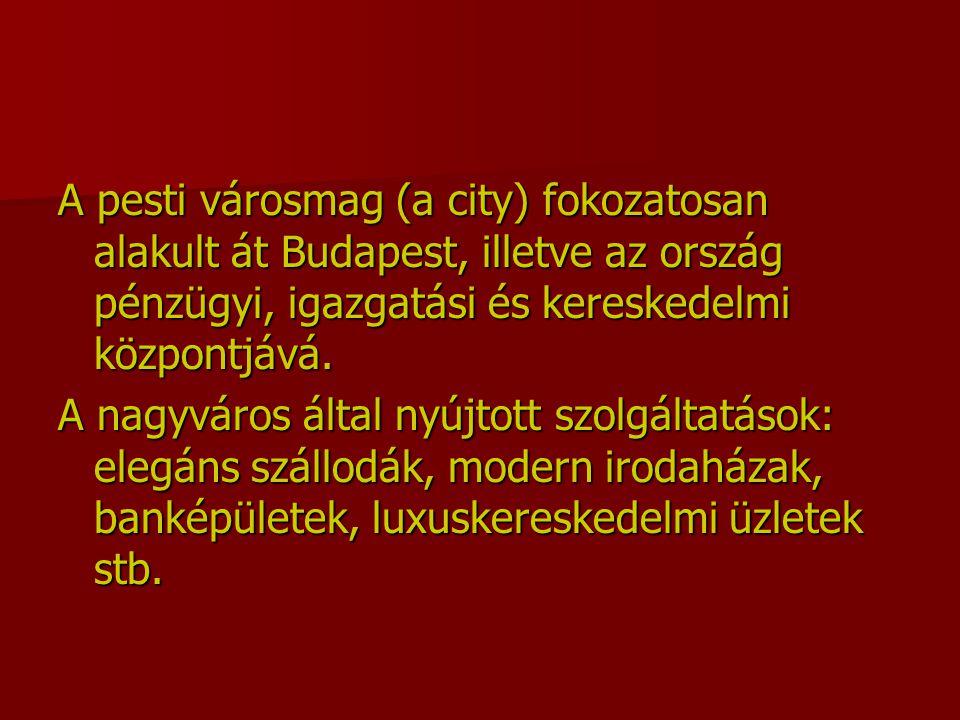 A pesti városmag (a city) fokozatosan alakult át Budapest, illetve az ország pénzügyi, igazgatási és kereskedelmi központjává. A nagyváros által nyújt