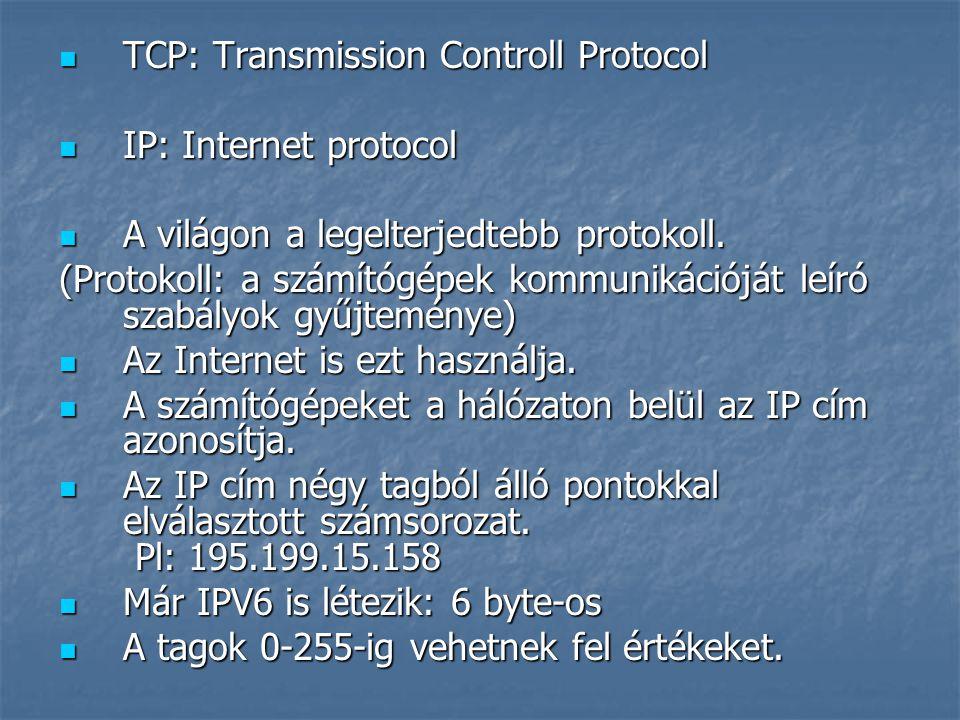 TCP: Transmission Controll Protocol TCP: Transmission Controll Protocol IP: Internet protocol IP: Internet protocol A világon a legelterjedtebb protokoll.