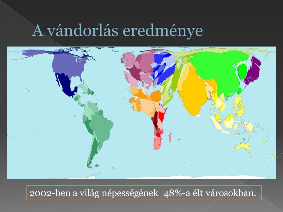 2002-ben a világ népességének 48%-a élt városokban.