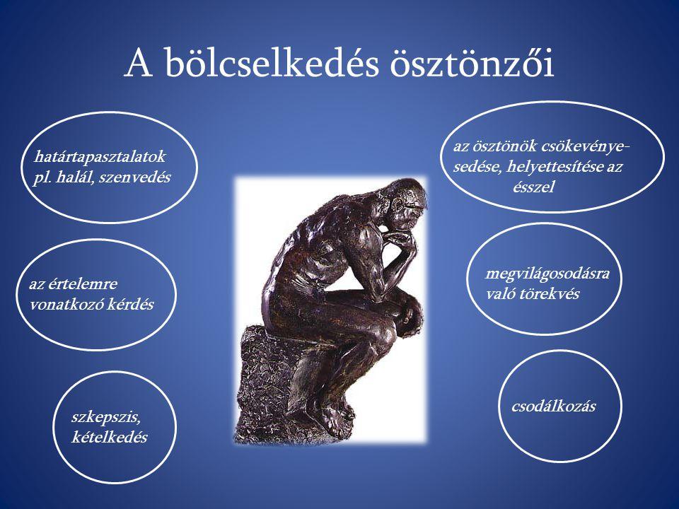 A bölcselkedés ösztönzői határtapasztalatok pl. halál, szenvedés az értelemre vonatkozó kérdés szkepszis, kételkedés az ösztönök csökevénye- sedése, h