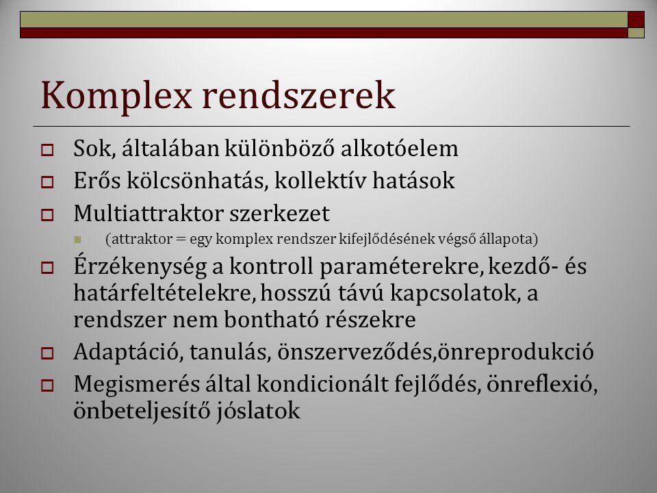 Komplex rendszerek  Sok, általában különböző alkotóelem  Erős kölcsönhatás, kollektív hatások  Multiattraktor szerkezet (attraktor = egy komplex re
