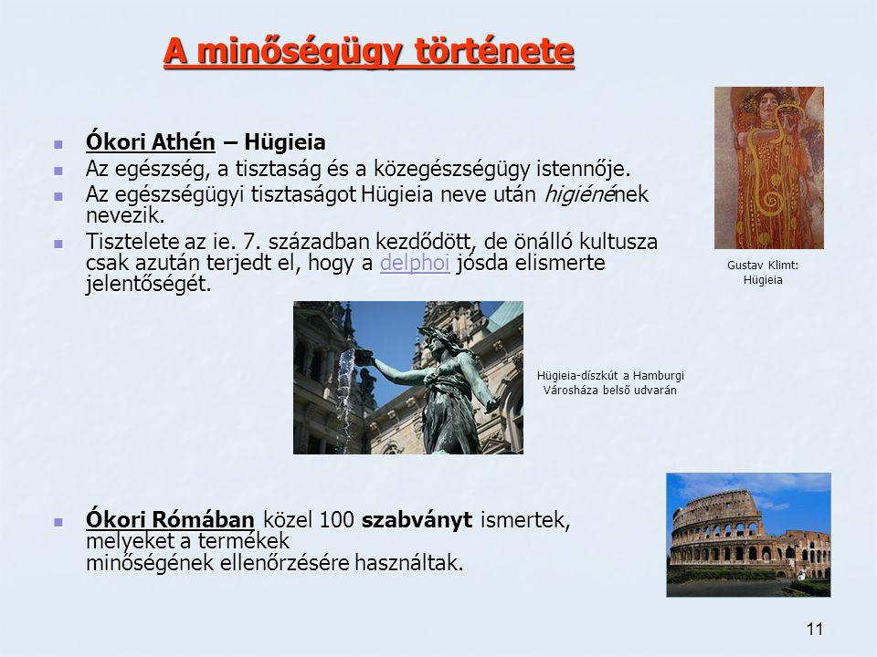 11 A minőségügy története Ókori Athén – Hügieia Ókori Athén – Hügieia Az egészség, a tisztaság és a közegészségügy istennője. Az egészség, a tisztaság