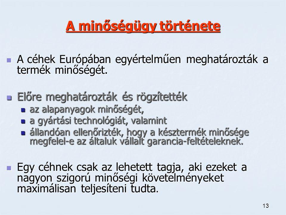 13 A minőségügy története A céhek Európában egyértelműen meghatározták a termék minőségét. A céhek Európában egyértelműen meghatározták a termék minős
