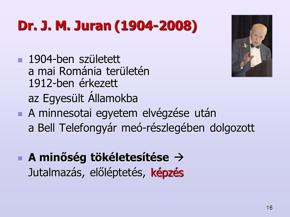 16 Dr. J. M. Juran (1904-2008) 1904-ben született a mai Románia területén 1912-ben érkezett 1904-ben született a mai Románia területén 1912-ben érkeze