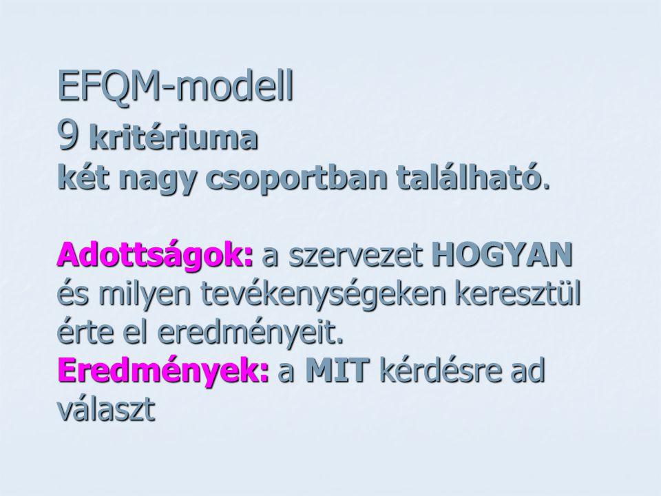 EFQM-modell 9 kritériuma két nagy csoportban található. Adottságok: a szervezet HOGYAN és milyen tevékenységeken keresztül érte el eredményeit. Eredmé