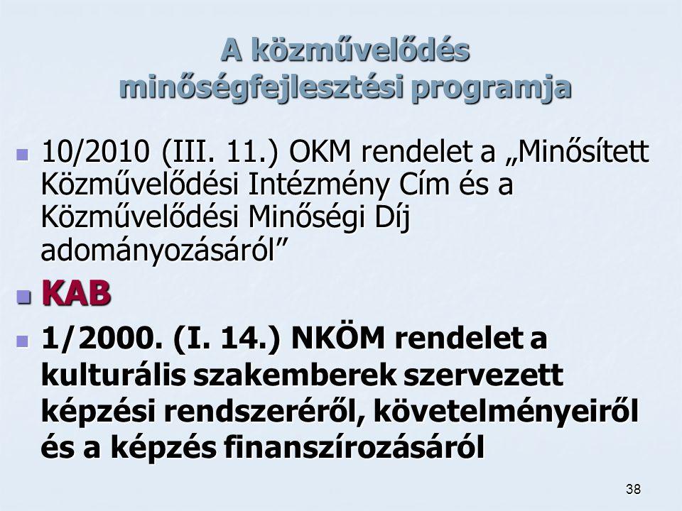 """38 A közművelődés minőségfejlesztési programja 10/2010 (III. 11.) OKM rendelet a """"Minősített Közművelődési Intézmény Cím és a Közművelődési Minőségi D"""