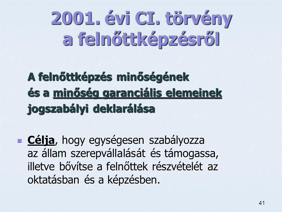 41 2001. évi CI. törvény a felnőttképzésről A felnőttképzés minőségének és a minőség garanciális elemeinek jogszabályi deklarálása Célja, hogy egysége