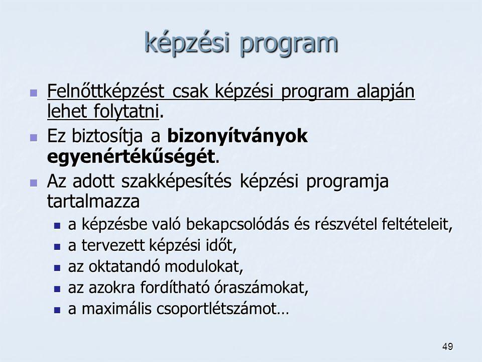 49 képzési program Felnőttképzést csak képzési program alapján lehet folytatni.
