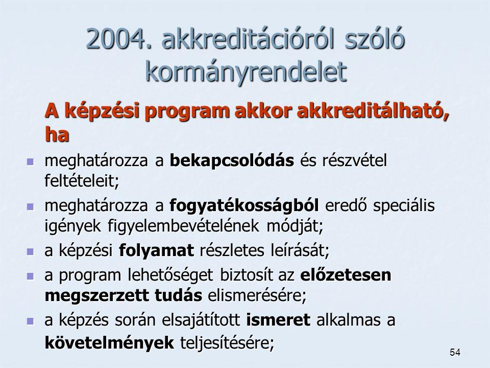54 2004. akkreditációról szóló kormányrendelet A képzési program akkor akkreditálható, ha meghatározza a bekapcsolódás és részvétel feltételeit; megha