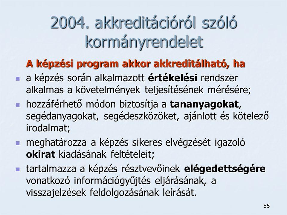 55 2004. akkreditációról szóló kormányrendelet A képzési program akkor akkreditálható, ha a képzés során alkalmazott értékelési rendszer alkalmas a kö