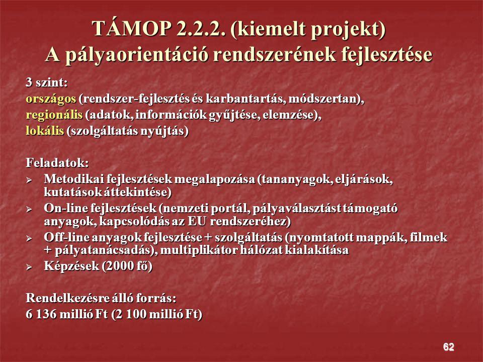62 TÁMOP 2.2.2. (kiemelt projekt) A pályaorientáció rendszerének fejlesztése 3 szint: országos (rendszer-fejlesztés és karbantartás, módszertan), regi