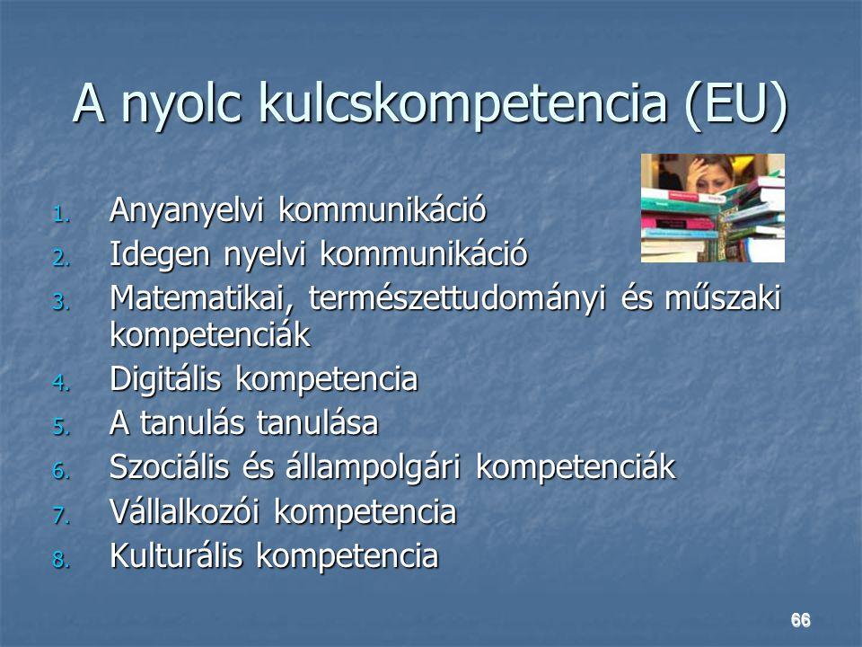 66 A nyolc kulcskompetencia (EU) 1. Anyanyelvi kommunikáció 2. Idegen nyelvi kommunikáció 3. Matematikai, természettudományi és műszaki kompetenciák 4