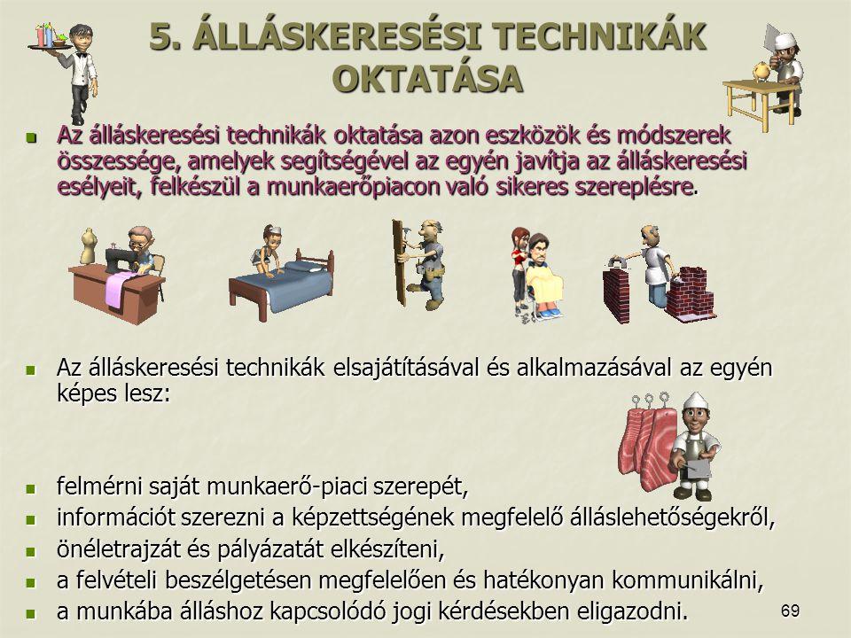 69 5. ÁLLÁSKERESÉSI TECHNIKÁK OKTATÁSA Az álláskeresési technikák oktatása azon eszközök és módszerek összessége, amelyek segítségével az egyén javítj