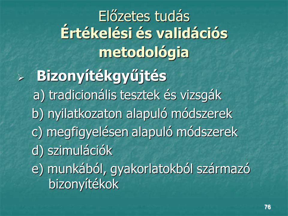 76 Előzetes tudás Értékelési és validációs metodológia  Bizonyítékgyűjtés a) tradicionális tesztek és vizsgák a) tradicionális tesztek és vizsgák b)