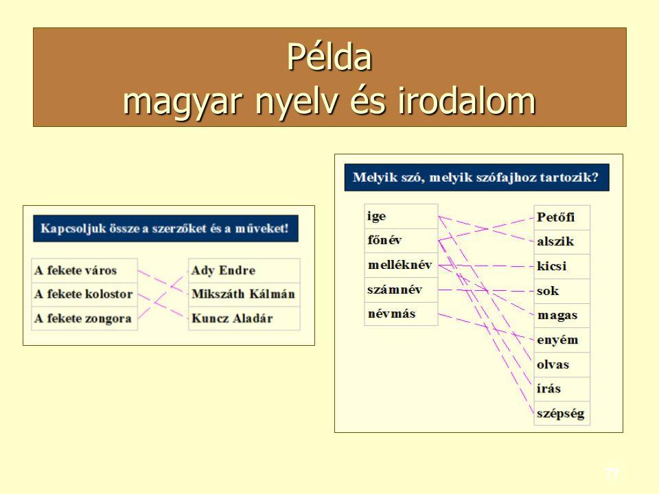 77 Példa magyar nyelv és irodalom