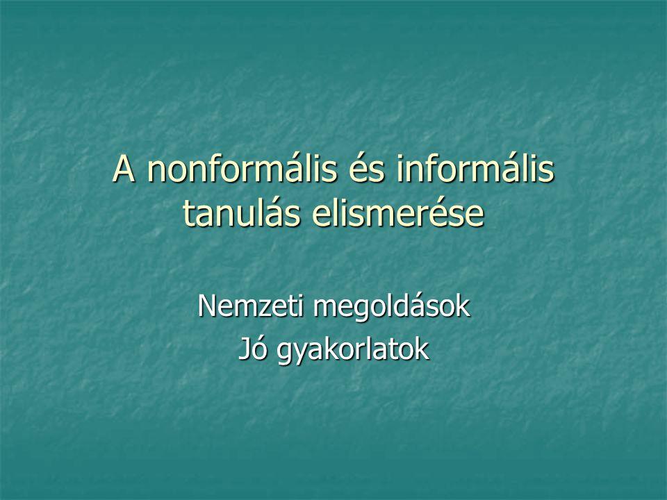 A nonformális és informális tanulás elismerése Nemzeti megoldások Jó gyakorlatok