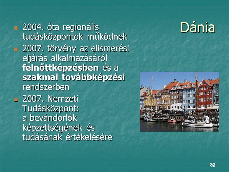 82 Dánia 2004. óta regionális tudásközpontok működnek 2004. óta regionális tudásközpontok működnek 2007. törvény az elismerési eljárás alkalmazásáról