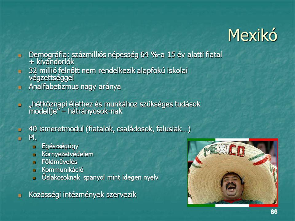 """86 Mexikó Demográfia: százmilliós népesség 64 %-a 15 év alatti fiatal + kivándorlók Demográfia: százmilliós népesség 64 %-a 15 év alatti fiatal + kivándorlók 32 millió felnőtt nem rendelkezik alapfokú iskolai végzettséggel 32 millió felnőtt nem rendelkezik alapfokú iskolai végzettséggel Analfabetizmus nagy aránya Analfabetizmus nagy aránya """"hétköznapi élethez és munkához szükséges tudások modellje – hátrányosok-nak """"hétköznapi élethez és munkához szükséges tudások modellje – hátrányosok-nak 40 ismeretmodul (fiatalok, családosok, falusiak…) 40 ismeretmodul (fiatalok, családosok, falusiak…) Pl."""