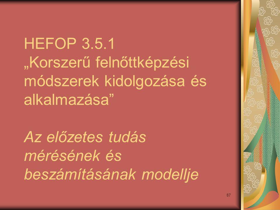 """87 HEFOP 3.5.1 """"Korszerű felnőttképzési módszerek kidolgozása és alkalmazása"""" Az előzetes tudás mérésének és beszámításának modellje"""